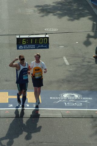 Chris and Will Boston Marathon Finish